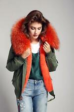Jacket Parka UK 6-14 Women 2017 REAL FUR Hood BOMBER Coat Army