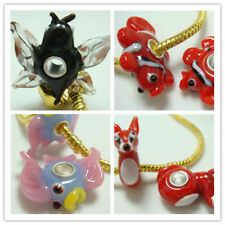 1-50p SILVER MURANO GLASS BEAD LAMPWORK Animal fit 925 European Charm Bracelet