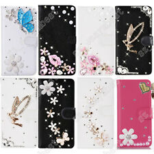 Magnetic Flip Cover Bling PU Leather Wallet Case Crystal Diamond For Samsung