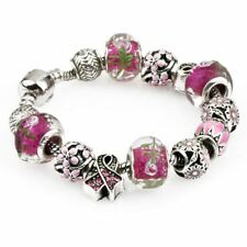 Girls Women Silver Plated Crystal Pdora Rhinestone Bead Charm Bracelet Bangle