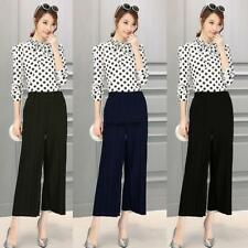 Women Pull On Pleated Wide Leg Solid Casual Loose Capri Pants Trousers LKR8
