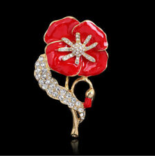 Red Flower Crystal Poppy Pin Brooch Women Broach Badge Banquet Gift Remembrance
