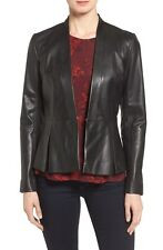 Women's Lambskin Leather Jacket Black Slim Fit Biker Peplum Style coat # 028