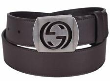 New Gucci Men's 387031 Brown Leather Cut Out Palladium GG Buckle Belt