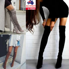 Women Over The Knee Stretch Thigh High Heel Boots Pointed Toe Pull On Boot Shoes