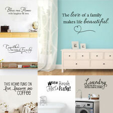 Bathroom Quote Wall Sticker Family Love Words Vinyl Removable Decal Home Decor