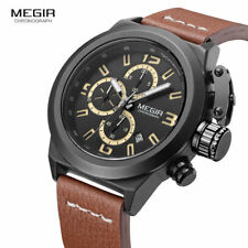 2017 Megir Mens Watches Top Brand Chronograph Quartz Wristwatch Military Watch