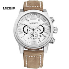 Luxury Brand MEGIR Watches Mens Quartz Chronograph Big Dial Leather Wristwatch