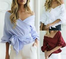 Women's Stripe&Solid Wrapped Flare Puff Sleeves Bow Tie Wasit Top Shirts Blouses