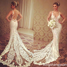 2017 Mermaid Wedding Dress Sleeveless Bridal Gowns Lace Custom Size 4 6 8 12 16+