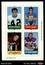 1969 Topps 4-in-1 Football Stamps Dick Hoak / Roman Gabriel / Dave William VG/EX