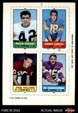 1969 Topps 4-in-1 Football Stamps Dick Hoak / Roman Gabriel / Dave William EX/MT