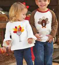 Mud Pie MH6 Thanksgiving Holiday Baby Toddler Girl Turkey Tunic 1152037