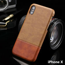 For iPhone X 6 7 8 /Plus Luxury Retro Leather Back Hard Case Cover Protection