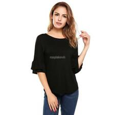 Women Casual Ruffle Sleeve Round Hemline O Neck Solid Loose Pullover RLWH