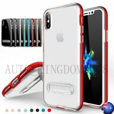 Soft Clear Tpu Back Rubber Case+Hard PC Frame+Kickstand Cover For iPhone X 10