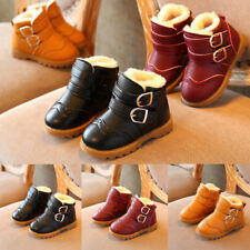 Kids Boys Girls Fur Round Toes Flat Buckle Warm Ankle Boots Outdoor Shoes Size