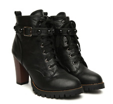 Women Black High Heel Martin Boots Buckle Gothic Punk Ankle Motorcycle Combat Bo