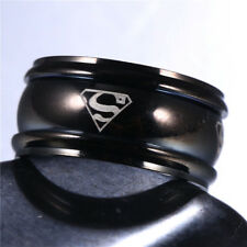 Men&Women Superman Stainless Steel Titanium Band Ring Wedding Engagement Sz 7-12