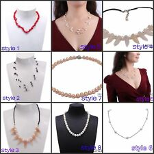 Cultured Freshwater Pearl Necklace Chunky Chain Bib Necklace Gift- multi style