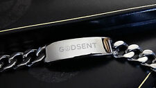 """Mens Large Chunky Curb Chain ID Bracelet Engraved GODSENT Gift 15 MM  8"""" - 9"""""""