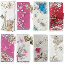 Luxury Bling Diamond Flip Leather Case Slim Wallet Cover With Card Slot for Sony