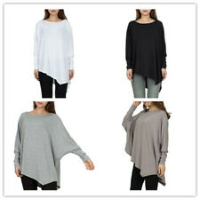 Women Solid Crew Neck Long Batwing Sleeve Assymetric Hem Loose Tops Blouss Shirt