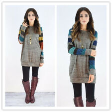 Women Crew Neck Stripe Raglan Long Sleeve Shift Mini Dress Long Pulloever Blouse
