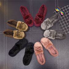 Winter Women Bowknot House Indoor Slippers Soft Warm Faux Fur Home Shoes Conveni