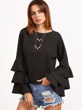 Cute Black Top Round Neck Layered Bell Sleeve	Ruffle Long Sleeve Top Sz XS S M L