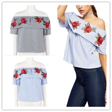 Women Striped Floral Print Off Shoulder Strapless Short Layered Sleeves Blouses