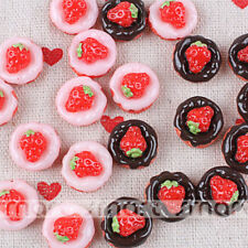 10pcs Resin Cabochon Flatback Strawberry Cartoon DIY Craft Decoration 15x10mm