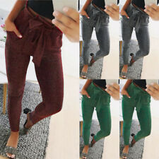 US Stock Womens Pants High Waist Skinny Long Trousers Casual Fashion Slim Pants