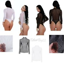 Women Ladies  See Through Mesh Long Sleeve Fishnet Crop Top T-Shirt Casual NEW