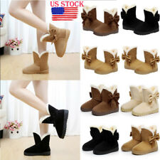 Lady Winter Bowknot Ankle Snow Boots Fur Round Toe Warm Platform Boot Shoes Size