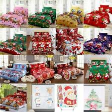 Christmas Tree Santa Claus Quilt Duvet Comforter Cover Bedding Bed Sheet P5Q8