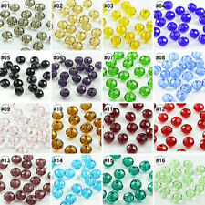 100pcs Mixed Synthetic Crystal Gemstone Round Flat Loose Beads Strand 4x6mm