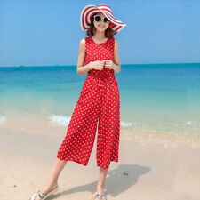 Women's Polka Dot Printed Belted Tunic Loose Wide Legs Tank Jumpsuits Rompers