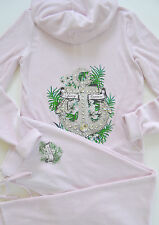 Juicy Couture Velour Tracksuit Anchor Hibiscus Hoodie Pants Track Set PInk