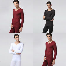 New Fashion Mens Cotton Blend Solid Casual Pullovers Thermal Underwear Suit