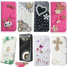 Bling Rhinestone PU Flip Stand Holders Wallet Leather Case Cover For Sony Xperia