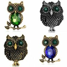 Vintage Gold Plated Crystal Animal Owl Brooch Pin Women Christmas Jewelry Gift