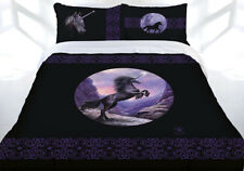 Anne Stokes Black Unicorn Horse Quilt Doona Cover Set - SINGLE DOUBLE QUEEN KING