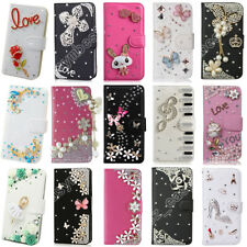Lovely Leather Magnetic Wallet Stand Case Bling Crystal Diamond Cover For iPhone
