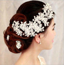 Faux Pearl Flower Wedding Bridal Hair Accessories Headwear Hair Comb Handmade