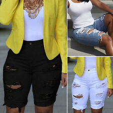 Women High Waisted Shorts Ripped Jeans Pedal Pusher Middle Lenght Pants