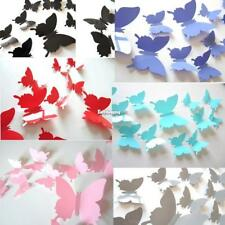 12Pcs 3D Butterfly Wall Sticker Room Removable Decal Decor Art Mural DIY ES9P