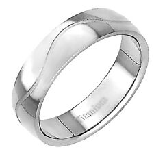 6mm Titanium Dome Satin Celtic Groove Ring Comfort Fit Men's Wedding Band