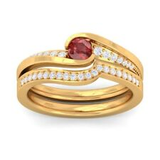 Red Garnet FG SI Diamonds Perfect Wedding Dual Rings Women Yellow Gold