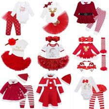 My First Christmas Newborn Baby Girls Romper Top+Pants Bodysuit Outfits Costume